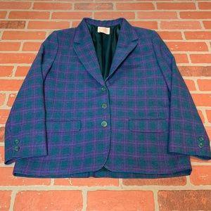 Pendleton Vintage Plaid Blazer Jacket Wool Petite